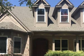 Completed residential roof replacement in Denton, Texas.